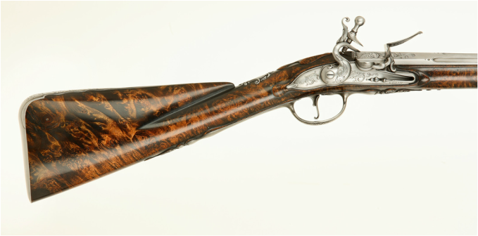 Jim Kibler Burl Fowling Piece in style of John Harman flintlock London 18th century silver mounts inlay