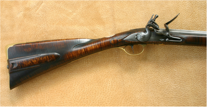 Jim Kibler Rifle with fowling influences in style of John Newcomer in curly maple