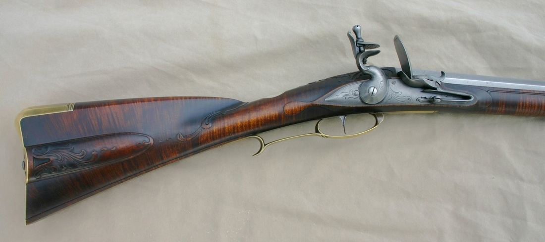 Jim Kibler Rifle in Shenandoah county Virginia style carved maple