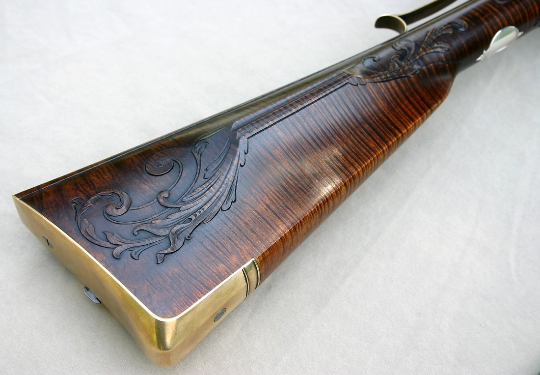 Jim Kibler highly decorated Rifle in style of John Bivens and French designs strong curly maple